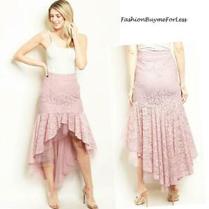 Pink Gothic Steampunk Victorian Vintage Ruffle Lace Tutu High Low Skirt S M L