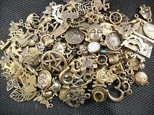 100 Assorted Metal Charms Bronze Tone