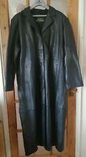 "HEELI Black Soft Real Leather Long Coat Size: 4XL - Chest 50"""
