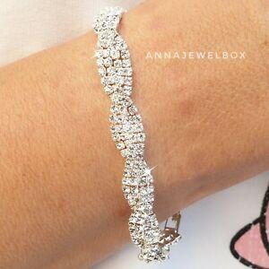 Silver Cubic Zirconia CZ Crystal Tennis Bracelet Bangle Bridal Birthday Gift Bag