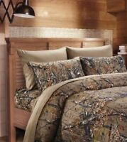 NATURAL BROWN CAMO 6pc Queen SHEETS SET : CAMOUFLAGE WOODS CABIN TREE HUNTING