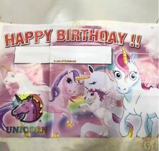 Party : Unicorn Happy Birthday Wall Poster Banner Party Decor