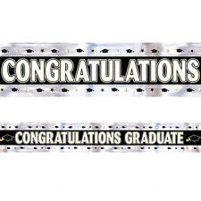 GRADUATE FOIL BANNER BLACK SILVER GRADUATION CELEBRATION PARTY
