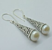 Diseñador de agua dulce blanco perla pendientes en plata esterlina 925 - 45 mm