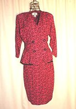 Vintage Petite Sophisticates by Jonathan Martin Hot Pink & Black Print Outfit 12