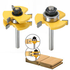 "New 2x Tongue&Groove Router Bit Set 3/4"" Stock 1/4"" Shank Cutter For Woodworking"