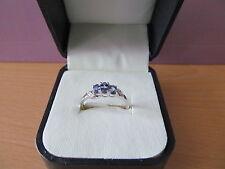 9ct w/gold ladies Tanzanite & Diamond Trilogy ring - New