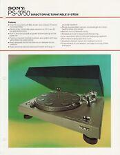 Sony PS-3750 Original Turntable Brochure 1975