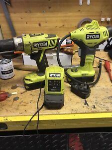 Ryobi Drill And Compressor