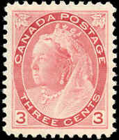 1898 Mint H Canada VF Scott #78 3c Queen Victoria Numeral Issue Stamp