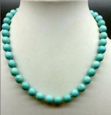 "10mm Blue Turquoise Gems Round Beads Necklace 18"" JN98"