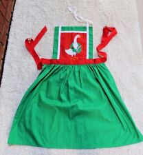 Green Christmas Apron, Red Accents, Embroidered Goose, Red Ribbon Tie