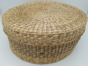 Handmade Wicker Cane Rattan Woven Storage Food Basket with Cover Lid Container