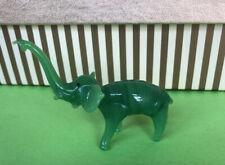 Vtg Figural Miniature Hand Blown Glass Green Jadeite Elephant Figurine