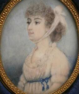FINE GEORGIAN PERIOD PORTRAIT MINIATURE PRETTY YOUNG LADY CHARLOTTE MALLARD