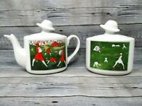 Toscany Collection Samfaola Ladies with Hats Teapot and Sugar Bowl Vintage