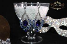 Große Ohrringe,Vintage Ohrhänger, Silber plt, Strass,Kristall Brautschmuck Blau