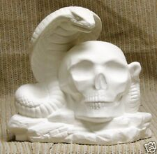 Ceramic Bisque Skull Cobra Fire Keeper Doc Holliday 2328 U-Paint Ready To Paint