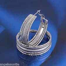 18K White Gold Filled Silver Tone Hoop Earrings (E-321)
