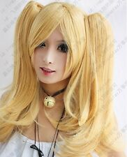 New Fashion Long blonde cosplay party wig + 2 clip on Ponytails   AE43