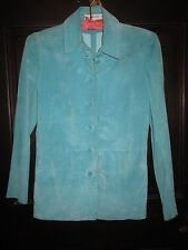 TurquoiseSUEDEPetite4SAKS FIFTHAVENUE Shirt top blouse tailored jacket unlined