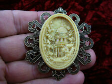 (CL2-13) WASHINGTON D.C. DC Capitol building ivory CAMEO White House pin brooch