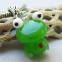Green Frog Lampwork Glass European Bead For Charm Bracelet And Necklace Chains