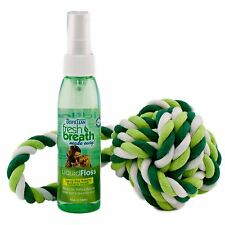 Tropiclean Dog Pet Fresh Breath Spray Toy - Liquid Floss Tri Floss Rope Ball