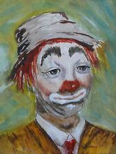 Original Signed Watercolor of a Clown by Arizona Artist R. Beekman circa 1981