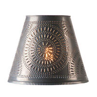 Fireside new Blacken punched TIN Chisel lamp shade