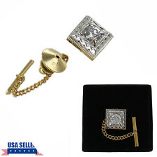 Two Tone CZ Cubic Zirconia Beveled Square Tie Tack Mens Gift Boxed