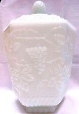 GRAPES AND LEAFS ANCHOR HOCKING FIRE KING MILK GLASS CANISTER COOKIE JAR
