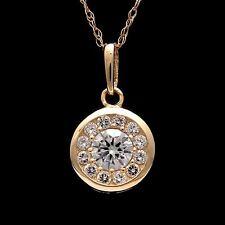 "1/2CT Created Diamond Bezel Halo Pendant 14k Yellow Gold 18"" Rope Chain Necklace"