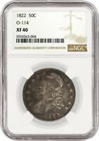 1822 50C Capped Bust Silver Half Dollar Overton O-114 NGC XF40 Circulated Coin