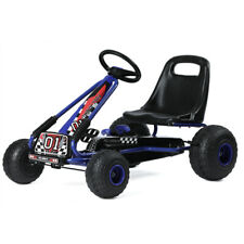 Outdoor Pedal Powered Go Kart Ride-On Toy Gift Kid Mini Car 4 Wheel Racer Blue