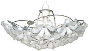 Oaks Lighting Abeba Chrome & White Acrylic Flowers Floral Pendant Shade - EUC!