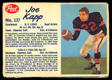 1962 POST CFL FOTBALL #137 JOE KAPP VG-EX B C LIONS UNIV OF CALIFORNIA VIKINGS