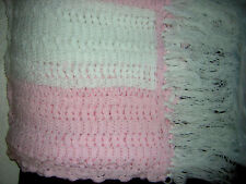 "Handmade Throw Afghan Pink and White Crochet  72X56 w/9"" Fringe VGUC"