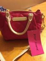 $58 Betsey Johnson Quilted Mini Hot Pink Cross body Purse v1