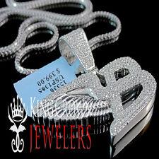 10K White Gold Silver Bentley Flying B Symbol Simu Diamond Pendant Chain 1.5''