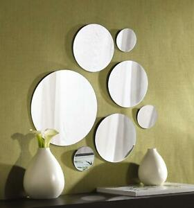 7-Pc Mirror Round Set Hanging Wall Mount Decor Modern Vintage Home Mirrors Glass