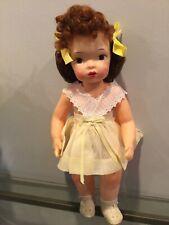 Doll Terri Lee Dotty Eyed Doll Auburn Red Hair Yellow Pinafore Dress tagged