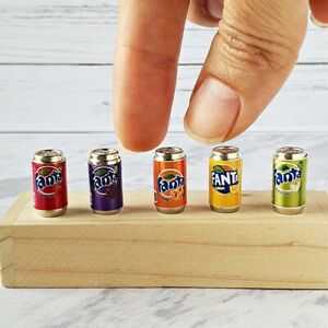 Dollhouse Miniatures Food Drink Beverage Soda Ice FANTA Mix Can Set 5 Lot Supply