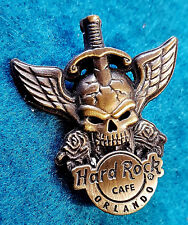 ORLANDO BRONZE WINGED 3D SKULL SERIES SWORD & ROSES DEATH Hard Rock Cafe PIN LE