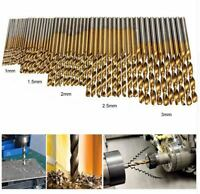 50x gris Titanium HSS Foret Kit 1-3mm perceuse Métal Foret DIY à outils
