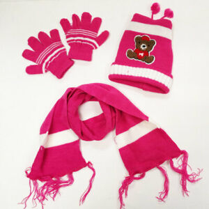 Boy Girl Kid's Warm Winter Beanie Hat Scarf and Glove Set (3 Piece) 1-5 Year Old