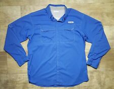 Columbia PFG Omni Shade Vented Long Sleeve Button Shirt Men's Large Blue