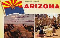 Chrome Postcard A755 Greetings from Arizona Multiview Navajo Girls Grand Canyon