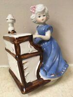"Girl Playing Piano MUSICAL FIGURINE Ceramic REVOLVING TURNING Music Box 6"" Blue"