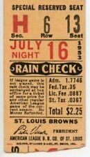 July 16, 1953, St. Louis Browns vs. New York Yankees Baseball Ticket